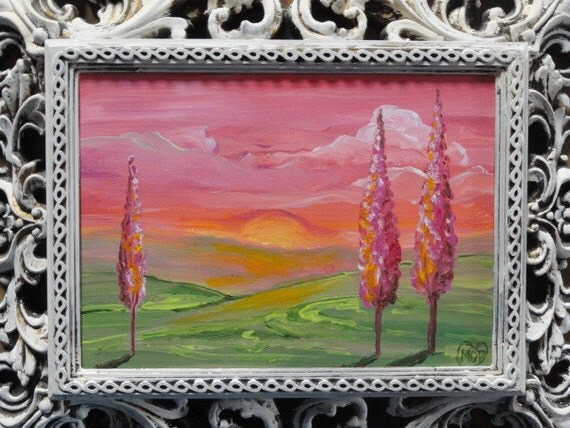 Tree Painting, Pink sky, cottage chic Landscape art, upcycled art