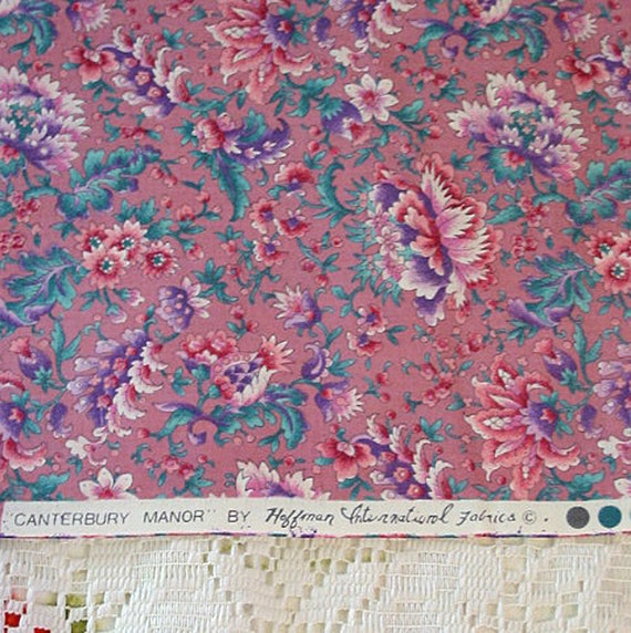 CANTERBURY MANOR Print Cotton FABRIC, Lavender, Teal and Pink Crewel Flower Design 1.7 Yards, Never Used, Hoffman Intl