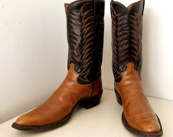 Two tone brown vintage Justin cowboy boots size 11.5 AA