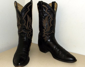 Vintage Black Leather Justin brand Cowboy boots size 10 B