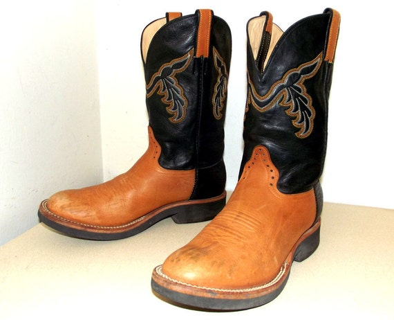 Brown and Black leather cowboy boots size 9.5 D or cowgirl size 11