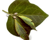 Watercolor paper green leaf earrings