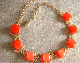 Vintage Cherry Red Thermoset Necklace / Choker