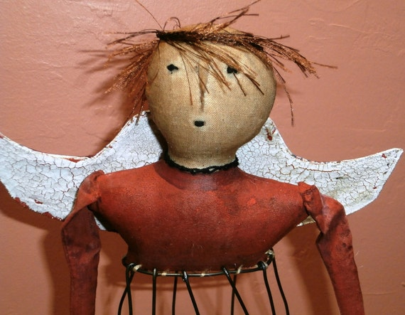 Handmade Primitive Angel Cage Doll - OOAK