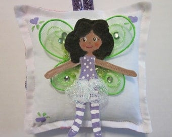 Girl Tooth Fairy Pillow - Hand Painted - Dark Skin Tooth Fairy