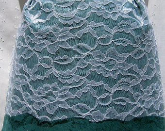 SALE! AQUA LACE half apron in teal shimmer with lace overlay, white ribbon, and white rickrack