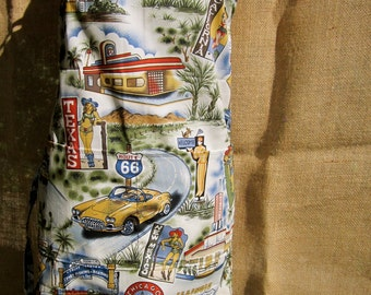 ROUTE 66 KICKS aloha style chef apron with classic cars, pit stops, and route 66 themed icons