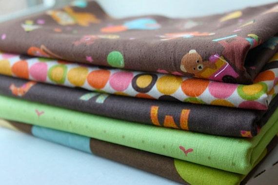 Brown Caramel Town Lecien Japanese Import Fabric Half Yard Bundle