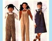 297 McCalls 7706 Girls Loose-Fitting Jumper Jumpsuit Bib Overalls Childs size 4 Vintage 80's Make It Tonight Sewing Pattern Uncut