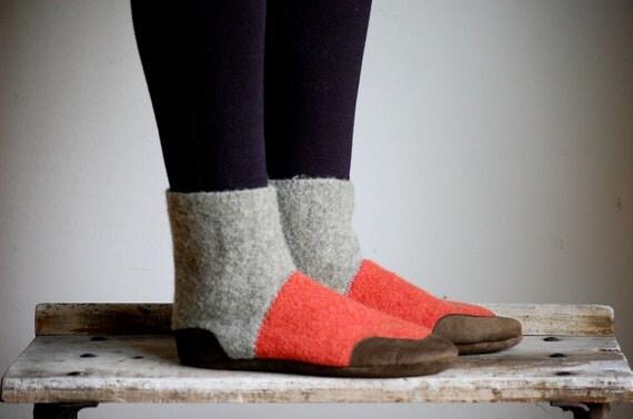 Wool Slippers for Men & Women, Eco Friendly, women size 11, men size 10, wide width, Firefly