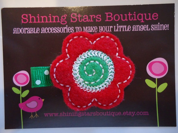 Girls Hair Accessories - Felt Hair Clips - Red And Emerald Green Christmas Embroidered Felt Daisy Flower With Swirl Center