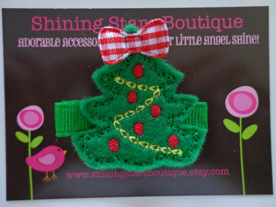 Felt Hair Clips - Baby Girl Hair Accessories - Green Embroidered Boutique Felt 'Christmas Tree' Hair Clippie For Girls