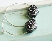 Hoop Earrings - Black and Silver - Silver Earrings
