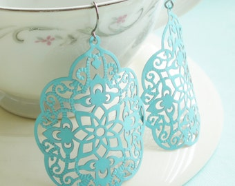 Large Statement Earrings - Byzantine - Soft Sky Blue