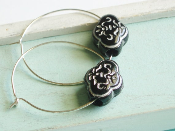 Hoop Earrings - Black and Silver - Silver Earrings