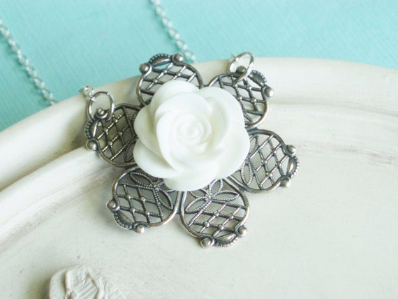 ChristmasinJuly - Silver Flower Necklace - Pretty White Rose Necklace - SALE