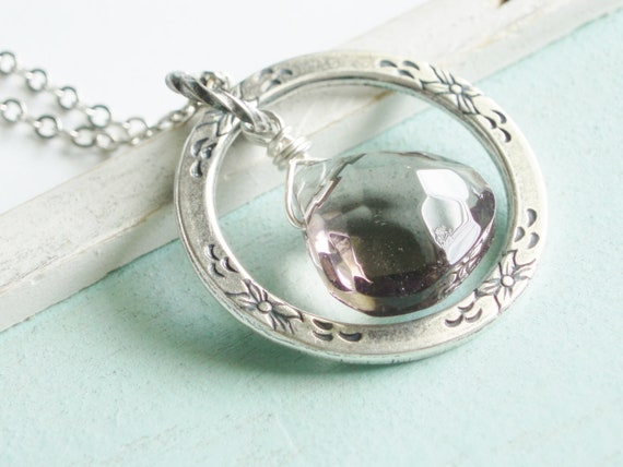 Eternal Ring Necklace - The Shadow of Your Smile - Silver and Grey Necklace