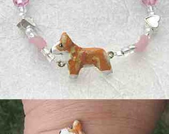 WELSH CORGI Red/White Handpainted Clay Bracelet Pink Glass/Metal Heart Spacer Beads