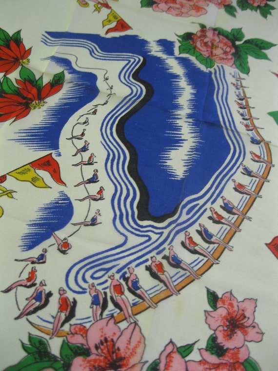 Vintage Florida handkerchief, Cypress Gardens hankie, Esther Williams pool, 1950s