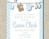 precious blue clothesline baby shower invitation