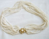 Vintage 12 Strand White Faux Pearl Necklace with Rhinestone and Pearl Clasp Bridal Wedding
