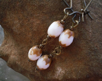 Moonbeam White Glass Bead Earrings with Antique Brass Kidney Wires