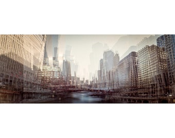 "Downtown Chicago skyline panorama photograph, surreal cityscape, alterscape, 35mm color film, art print ""Earth is Shaking with Her Fury"""