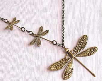Brass Dragonfly Necklace