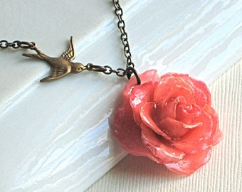 Real Pink Rose Necklace - Natural Preserved, Bird, Brass