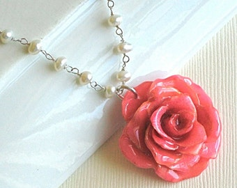 Real Rose Pearl Necklace - Pink, Sterling Silver, Flower Jewelry, Nature Jewelry