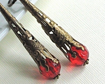 Red Trumpet Earrings - Brass, Crystal