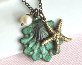 Starfish Shell Necklace -  Ocean Jewelry, Beach Jewelry, Verdigris Patina Brass, Nature Jewelry, Nature Necklace