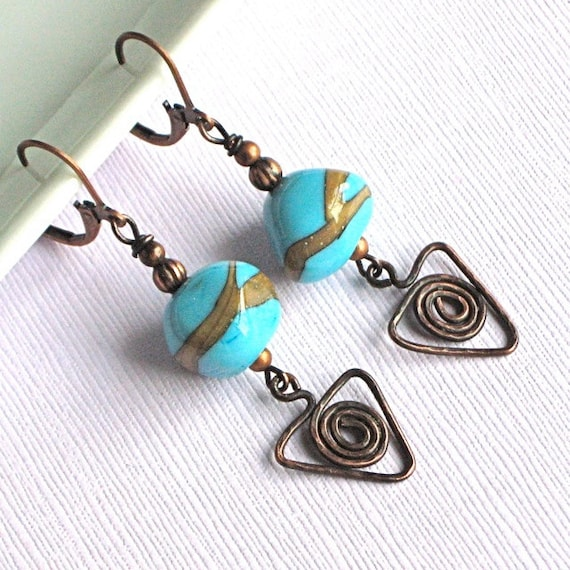 Turquoise Lampwork Copper Earrings - Wirework