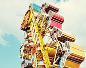 Carnival Photography, Kids Room Decor, White Clouds, Rainbow Colours, fpoe, Yellow, Red, Blue, Toronto Photo, CNE, Summertime - The Zipper