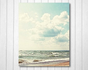 BUY 2 GET 1 FREE Summer Photography, Nature Print, Beach Photography, Lake, Beach Art, Fluffy Clouds, Wall Decor, Home Decor - Serenity