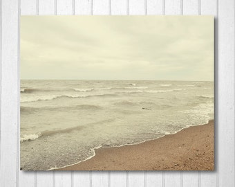 BUY 2 GET 1 FREE Beach Wall Art, Beach Decor, Lake Photography, Cottage Decor, Home Decor, Fine Art Print, Brown Decor, Sand and Water