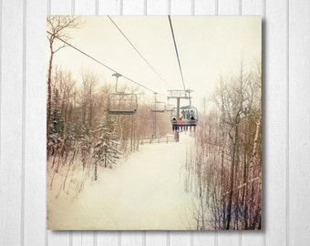 White, Wall Decor, Cottage Decor, Nature Photography, Winter Photo, Office Decor, Home, skiing, chairlift, Brown White, country - Snow Day