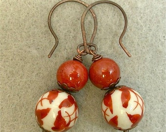 Vintage Red Jasper Bead Dangle Drop Earrings, Vintage Chinese White Cinnabar Butterfly Porcelain Beads, Handmade Copper Ear Wires