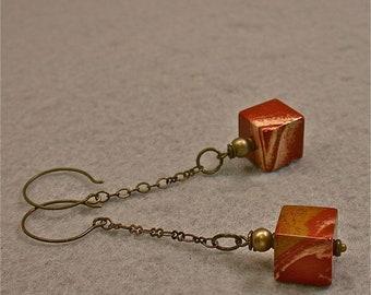 Vintage Red Jasper Dangle Drop Square Cube Bead Earrings, Long Brass Chain Dangle, Handmade Brass Ear Wires