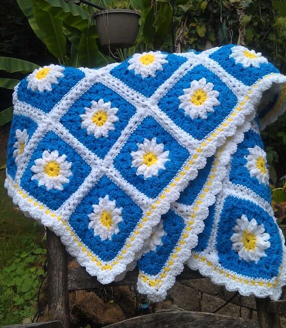 Items Similar To Summer Daisy Crochet Afghan Yellow Blue