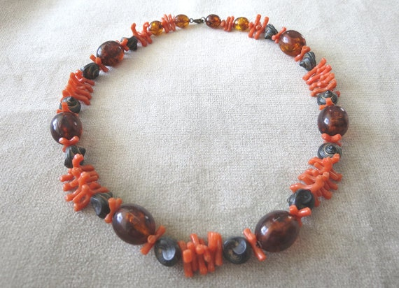 Fabulous Faux Amber, Coral and Shell Necklace / 1940s / Vintage Jewelry