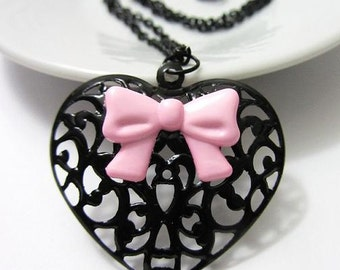 Pink Bow Black Filigree Heart