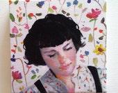 Imaginary world / Jenny / Tiny canvas print -wall art - Flowers - Flower- face lady CANVAS PRINT- wall hanging