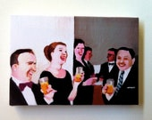 Funny joke + meeting tiny canvas prints ( reserved forJess )