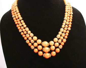 Peach Glass Pearl Necklace Vintage 1950s Multi Strand Champage Cream Beads Adjustable