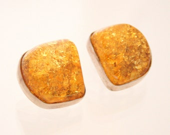 Amber Chunk Clip Earrings Vintage 925 Sterling Silver Modernist Warm Honey Genuine Amber