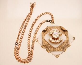 Stamped Medallion Rhinestones Necklace Vintage Large Unusual White Lucite Layered Pendant