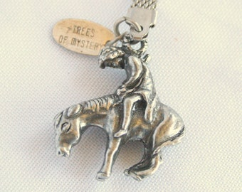 Vintage Silver Horse Keychain Charm End of the Trail Tired Horse Fob Trees of Mystery Native American Souvenir California Redwood