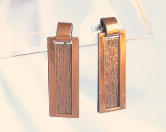Copper Rectangle Earrings Vintage Layered Drops Dangles Textured Screw Backs