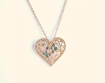 Filigree Heart Pendant Necklace Vintage Enamel Flower Convertible Brooch Pin